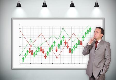 businessman thinking: businessman thinking standing near plasma panel with stock chart Stock Photo