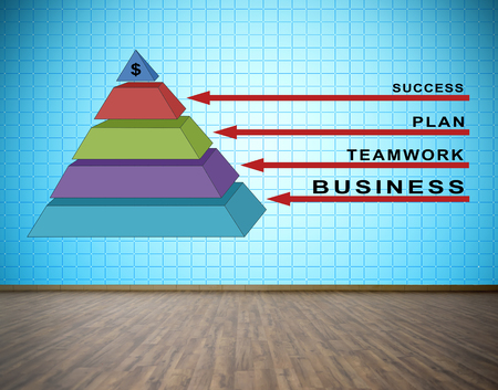 tv wall: business pyramid concept on blue plasma tv wall in room
