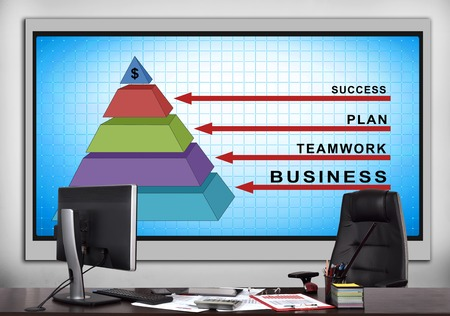 big screen: modern office with big screen with business pyramid