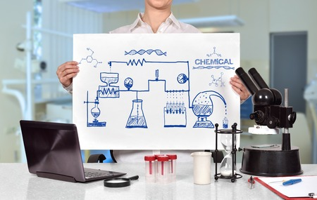 chemical reaction: Female medical or scientific researcher holding poster with drawing scheme chemical reaction Stock Photo