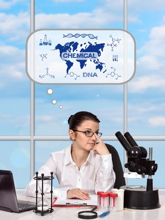 science scientific: scientific researcher woman thinking about the development of science Stock Photo