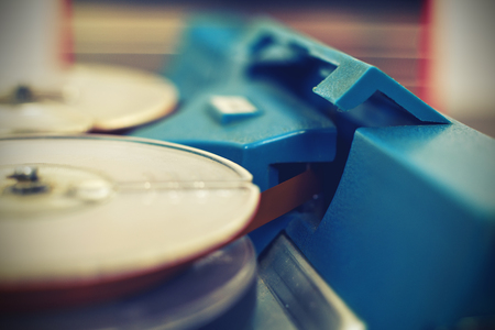 tape recorder: Retro reel tape recorder. Vintage effect Stock Photo