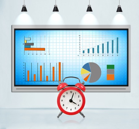 big screen tv: Tv screen on concrete wall in loft room with stock chart. Big red clock. Deadline concept.