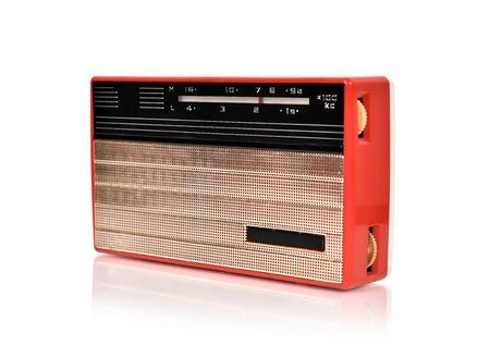 shortwave: red vintage radio on a whute background