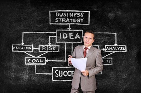 businesswoman with paper and drawing business strategy on blackboard photo