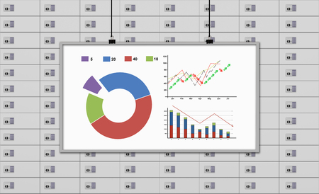 lockbox: whiteboard with drawing stock chart on a deposit boxes background