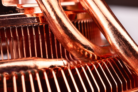 cooling system: Air cooling system for the CPU. Copper cpu cooler. Stock Photo
