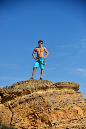 Extreme Climber On The Top Of Mountain.  Concept Of Success Stock Photo