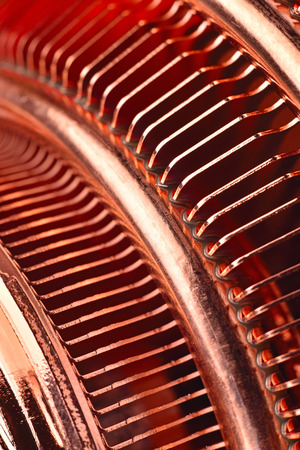 Copper cpu air cooler, Extra close up Stock Photo
