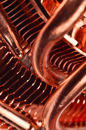 CPU cooler with heat pipes, close up Stock Photo