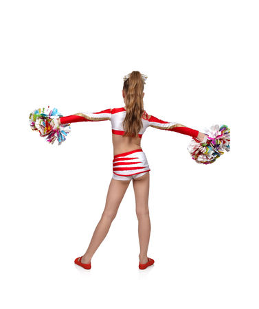 cheerleading squad: cheerleader girl standing back with color pompons