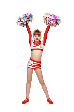 cheerleading squad: beautiful cheerleader girl with pompoms raised her hands up
