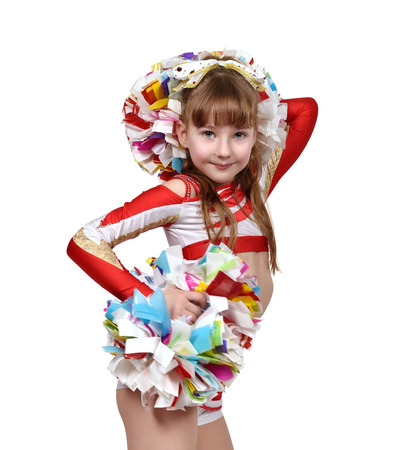 cheerleading squad: Young cheerleader girl with white and red dress. close up Stock Photo