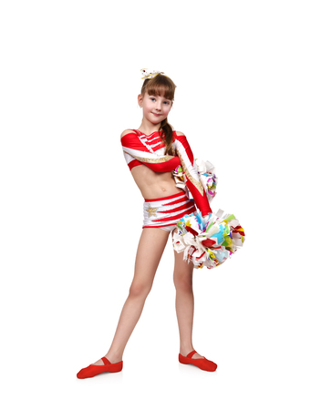 cheerleading squad: cheerleader girl with two pompoms on a white background Stock Photo