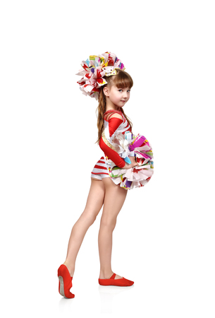 cheerleading squad: cheerleader girl standing back with color pompons on a white background