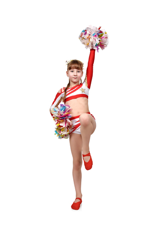 cheerleading squad: cheerleader girl with pompoms dances and raised her hands up Stock Photo