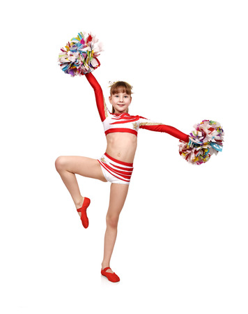cheerleading squad: cheerleader girl with color pompoms dances and raised her hands up