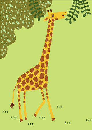 become: The long neck vector giraffe.has funny to travel around deep forest. Wide animal of africa become to cuty cartoon