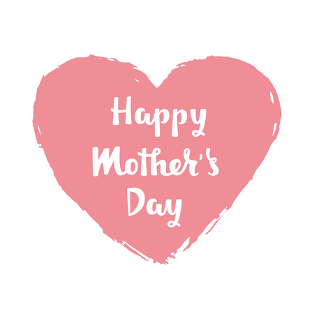 Handwritten lettering of Happy Mothers Day in pink heard. Vector illustration. Imagens - 96973790