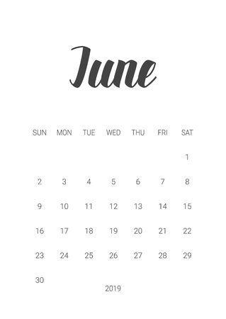 Vector Calendar Planner for June 2019. Handwritten lettering. Week Starts Sunday. Stationery Design. Objects isolated on white background.