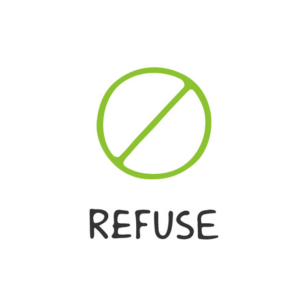 Zero waste concept. Refuse. Ecological lifestyle and sustainable developments. Vector object isolated on white background.