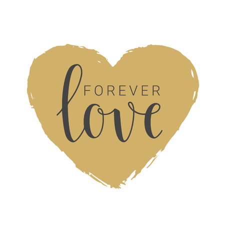 Vector illustration. Handwritten lettering of Forever Love. Objects isolated on white background. Ilustrace
