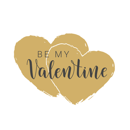 Vector illustration. Handwritten lettering of Be My Valentine. Objects isolated on white background.