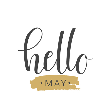 Vector illustration. Handwritten lettering of Hello May. Objects isolated on white background. Ilustracje wektorowe