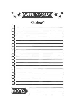 Weekly Goals. Sunday. Vector Template for Agenda, Planner and Other Stationery. Printable Organizer for Study, School or Work. Objects Isolated on White Background. Illustration