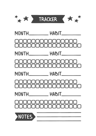 Habit Tracker. Vector Template for Agenda, Planner and Other Stationery. Printable Organizer for Study, School or Work. Objects Isolated on White Background.
