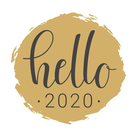 Vector Illustration. Handwritten Lettering of Hello New Year 2020. Template for Greeting Card or Invitation. Objects Isolated on White Background. Illustration