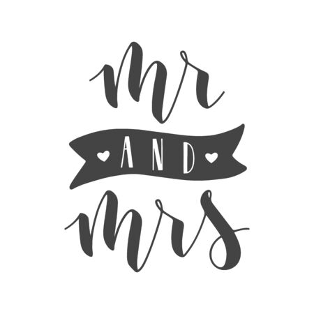 Vector illustration. Handwritten Lettering of Mr and Mrs. Template for Banner, Greeting Card, Postcard, Wedding Invitation, Poster or Sticker. Objects Isolated on White Background. Vektoros illusztráció