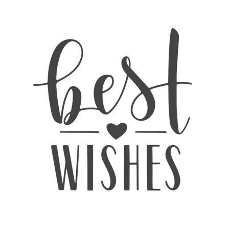 Vektor-Illustration. Handschriftliche Beschriftung der besten Wünsche. Vorlage für Banner, Grußkarte, Postkarte, Einladung, Abschiedsparty, Poster oder Aufkleber. Objekte isoliert auf weißem Hintergrund. Vektorgrafik