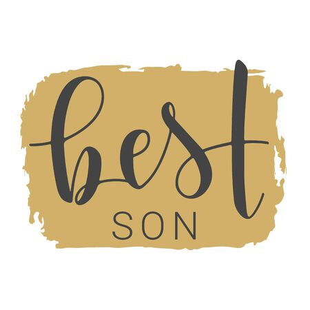 Vector Illustration. Handwritten Lettering of Best Son. Template for Banner, Greeting Card, Postcard, Invitation, Party, Poster, Print or Web Product. Objects Isolated on White Background. Illusztráció
