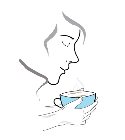 A person inhales the aroma of coffee. vector illustration