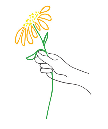 Hand with flower. vector illustration