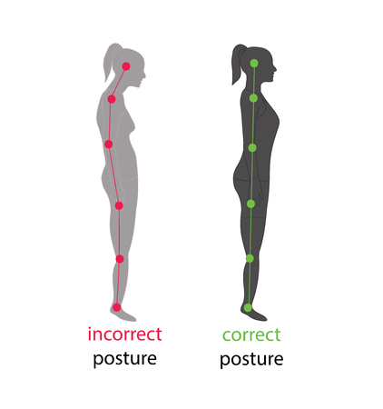 Corretto allineamento del corpo umano in posizione stabile per una buona personalità e sana della colonna vertebrale e dell'osso. Salute e illustrazione medica Vettoriali