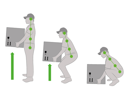 Correct posture to lift. Illustration of health care. Vector illustration Vettoriali