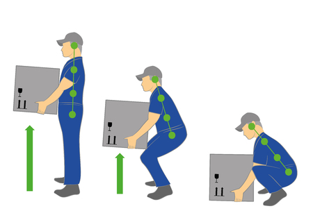 Correct posture to lift. Illustration of health care. Vector illustration Vectores
