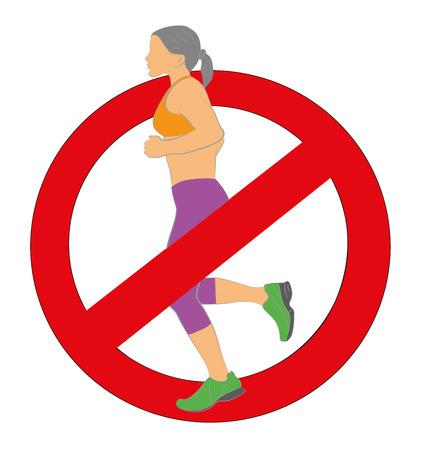 forewarning: Girl runs. Sign ban running. Vector illustration.