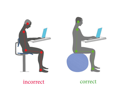 Correct health body posture while sitting for the computer (laptop). Vector illustration