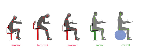 Correct and incorrect posture when writing. Vector illustration Vettoriali