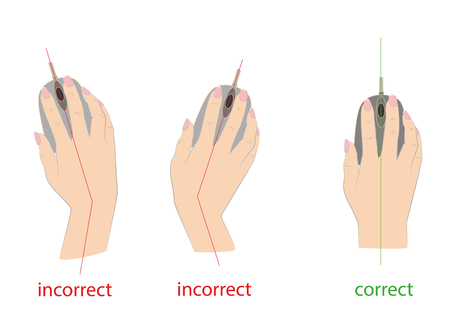 Correct and incorrect to hold a computer mouse. Vector illustration.