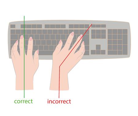 キーボードの正しいと不適切な手の位置。ベクトルの図。