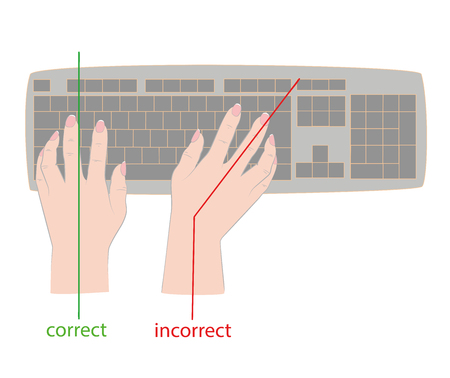Correct and incorrect hand position for keyboard. Vector illustration. 向量圖像