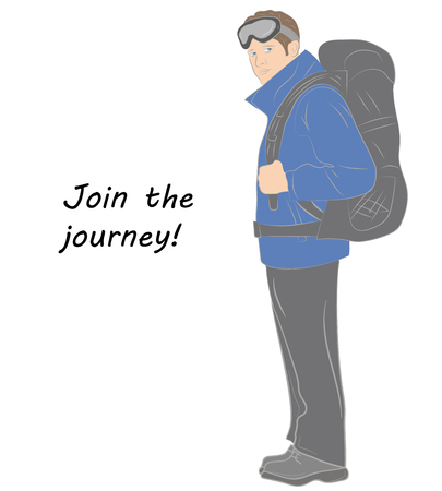 Male tourist with a backpack. Inscription: join the journey. Vector illustration.