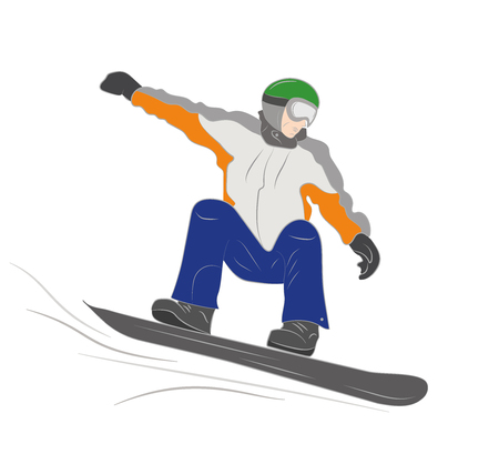 Snowboarder coming down from the mountain. Vector illustration.