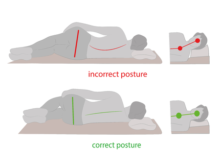 Correct posture during sleep. Vector illustration.
