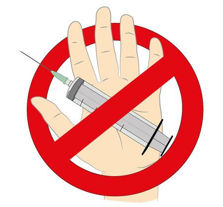 narcotic: Hand with syringe and the sign ban. The concept of prohibition of vaccination. Vector illustration.