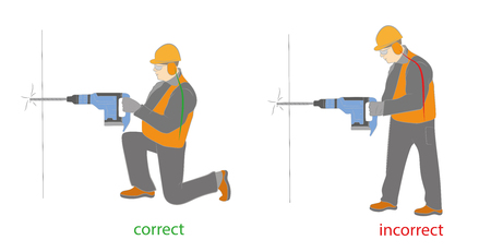 pneumatic: Correct and incorrect posture when working with a drill (jackhammer). Vector illustration.